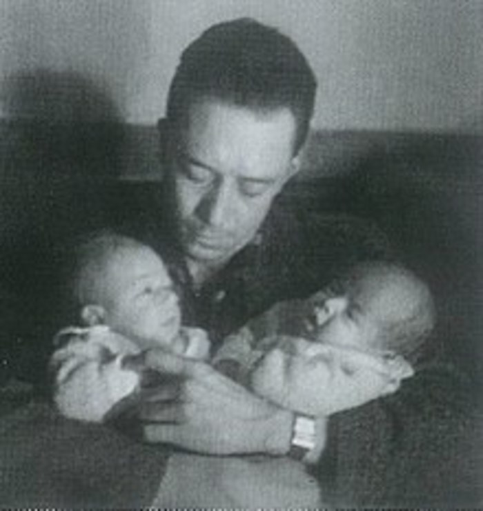 Camus with his children (Catherine and Jean) Source: Wikiwand