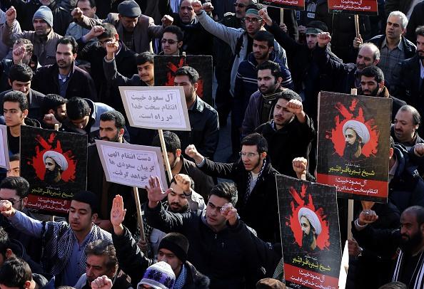 تظاهرة في طهران تدين إعدام نمر النمر (فاطمة بهرامي/ الأناضول)